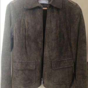 Liz Claiborne brown suede leather jacket sz S/P